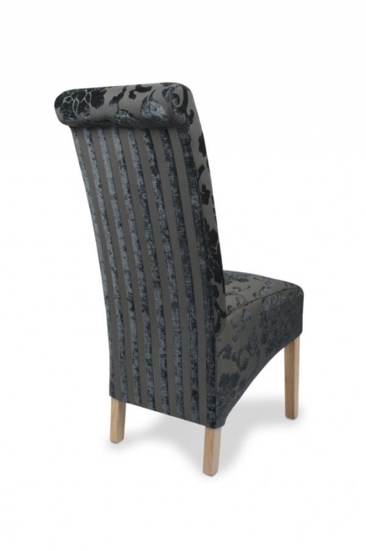 Modern black fabric dining chair fabric chairs dragon for Black fabric dining room chairs
