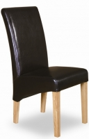 Straight back brown leather chair