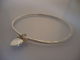 Silver Bangle - Oval Heart with Fresh Water Pearls