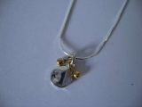 Silver Necklace - Organic Coin with 18k Gold Drops