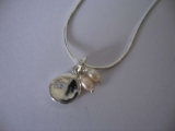 Silver Necklace - Organic Moon with Pearl Drops