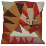 Cleopatra's Needle Needlepoint Cushion Kit - Jazzy Cat 14in