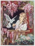 Gobelin L Printed Tapestry - Girl with Bird