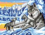 Royal Paris Tapestry/Needlepoint - Winter Wolves with Cubs
