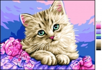 Royal Paris Tapestry/Needlepoint Canvas � Kitten in Flowers