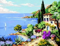 Royal Paris Tapestry/Needlepoint Canvas - Mediterranean View