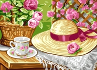 Royal Paris Tapestry/Needlepoint Canvas - Tea in the Garden