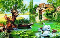Royal Paris Tapestry/Needlepoint Canvas - The Mill with Swans