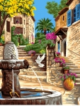 Royal Paris Tapestry/Needlepoint Canvas - Village Fountain