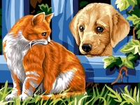 SEG de Paris Tapestry/Needlepoint � Cat and Dog