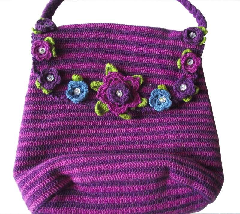 Crochet shoulder bag stripey with flowers Fairtrade Handmade