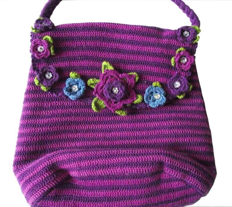 Shoulder Bag Crochet : Crochet shoulder bag stripey with flowers Fairtrade Handmade
