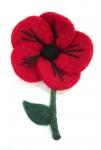 Stem Poppy Red Fair trade Felt Flower Corsage Brooch