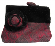 Velvet Brocade Purse red and black