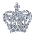 'Diamond' Crown Silver Toned brooch