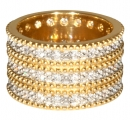 Triple Band George IV Diadem Ring with Double Row - Gold