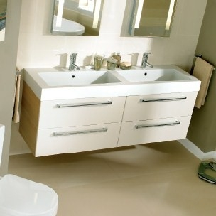... Twin Gelcast Washbasin Double Drawer Unit 120   160