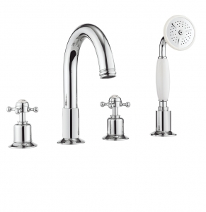 BELGRAVIA CROSSHEAD CHROME BATH 4 HOLE SET WITH KIT