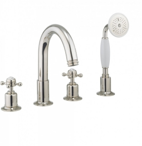BELGRAVIA CROSSHEAD NICKEL BATH 4 HOLE SET WITH KIT