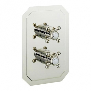 BELGRAVIA RECESSED NICKEL CROSSHEAD THERMO VALVE WITH 2 WAY DIVERTER