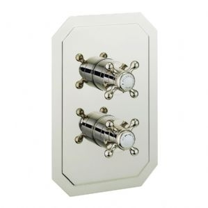 BELGRAVIA RECESSED NICKEL THERMO CROSSHEAD VALVE WITH 3 WAY DIVERTER.