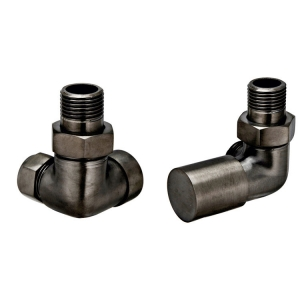 BRUSHED BLACK CORNER RADIATOR VALVES