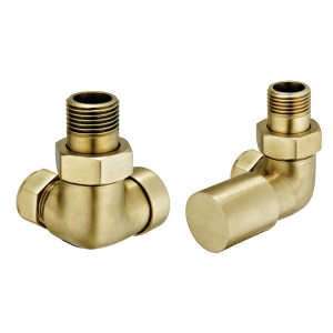 BRUSHED BRASS CORNER RADIATOR VALVE