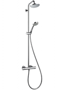 CROMA 100 SHOWERPIPE WITH CROMA 160 OVERHEAD SHOWER AND CROMA 100 VARIO HAND SHOWER