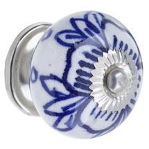 Ceramic Flower Door Knob White & Blue