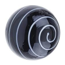 Glass Spiral Door Knob Black and White