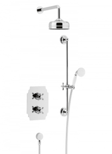 Heritage Hartlebury Recessed Shower Valve With Premium Fixed Head&Flexible Riser Kit