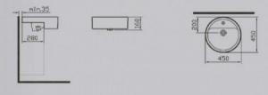 Matrix semi- recessed basin, 45cm 5146