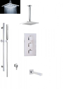SQUARE THERMOSTATIC SHOWER SET THREE