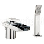 WATER SQUARE LIGHTS BATH SHOWER MIXER MONOBLOC WITH LIGHTS AND KIT