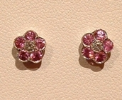 18ct Pink Sapphire and Diamond Earrings