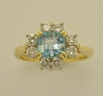 HANDMADE 18CT AQUAMARINE AND DIAMOND RING