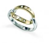 9ct  Yellow and White Gold Diamond Ring
