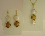 Bronze and White Handmade Freshwater pearl Earrings and Pendant