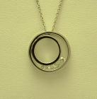 Circular 9ct White Gold Diamond Set Pendant
