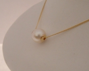 Freshwater Pearl Slider pendant on 9ct Yellow Gold chain