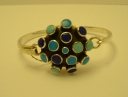 Sterling Silver and Enamel Contemporary Design Bangle