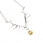 Antler Necklace with Gold Swirl