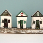 Beach huts on wood