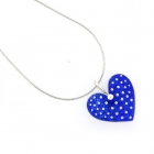 Blue Polka Heart Necklace