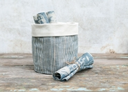 Blue Stripe Linen Pot Bag