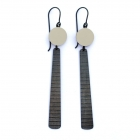 Circle and Long Oxidised Silver Stripe Earrings