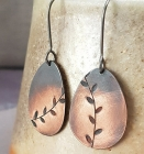 Copper leaf ombre dangle earrings