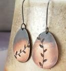 Copper leaf ombre dangle earrings