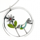 Flower & Bird Circle Pendant