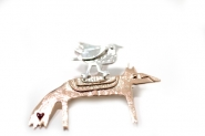 Fox and Bird Brooch